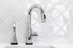 Kitchen sink & backsplash tile , part of contemporary kitchen remodel project portfolio.   Features island, modern appliances and bay window.