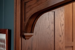 Wooden archway close-up  detail image, part of Craftsman style kitchen remodel in St. Paul, MN that includes gourmet kitchen and square island.