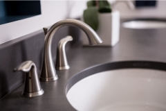 Sink & faucet close-up ; detail shot from master suite remodeling project photo gallery. Contemporary design in Minneapolis home remodel.