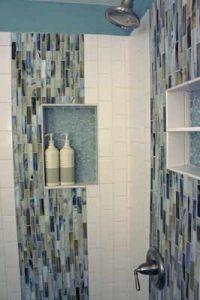 tiled bathroom with shower