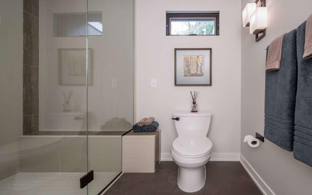 glass bathroom with toilet - Midcentury Bathroom 2015