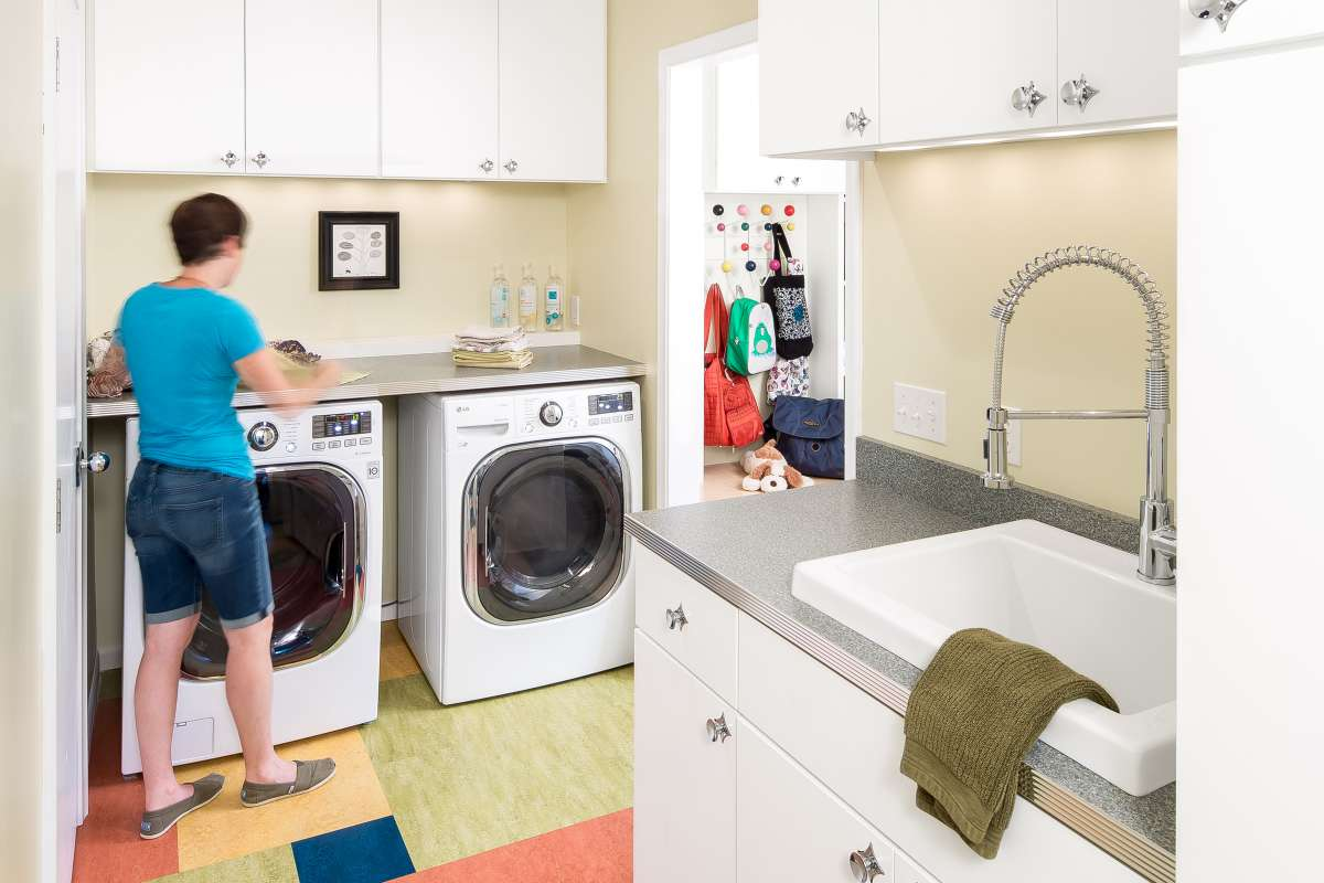 Mom in the laundry room