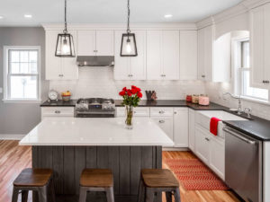 st louis park - kitchen addition white cabinetry marble island