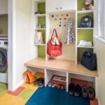 Bluestem bright and colorful mid-century modern style mudroom