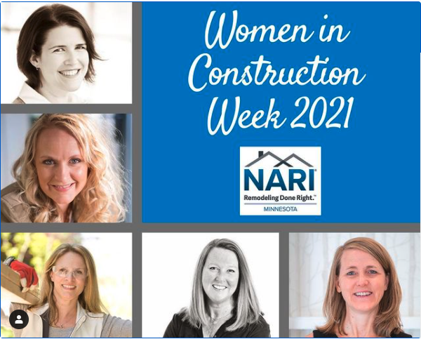 Women in Construction Week 2021 - photos of featured women by NARI-MN, including Tamatha Miller - Bluestem's Director of Client Services / Lead InteriorSpecialist