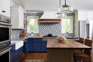 blue tricolor kitchen
