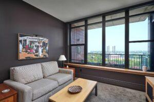 A view of a condo living room.