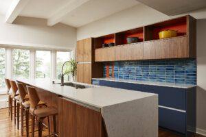 modern kitchen, blue tile backsplash, island, lots of storage